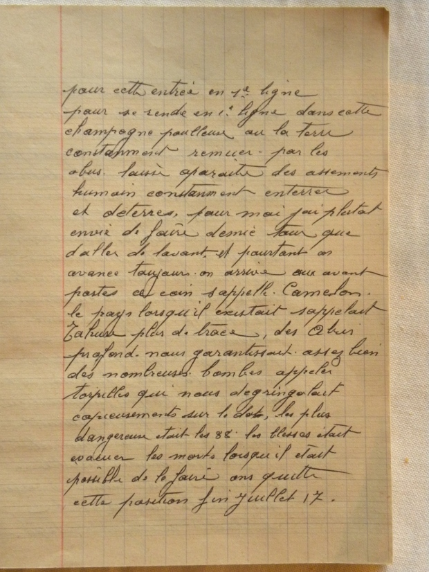 Page 3 of Albert Huet's Diary.